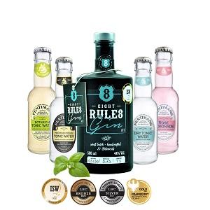 8 Rules Gin - Die jüngsten Erfolge für unseren 8 Rules Premium Gin sprechen für sich. Gold bei ISW Awards 2019 Bronze bei ISC Awards 2020 in London Silber bei ISC Awards 2021 in London Gold bei Frankfurt international Trophy 2021  Just enjoy - only 8 Rules Gin.